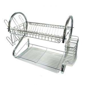 NEW*CHROME PLATED METAL DISH DRYING DRAINER RACK w/TRAY