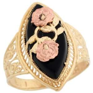 Two Tone Gold Rose Gold Flower Filigree Marquise Onyx Ring Jewelry