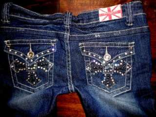 MACHINE Stretch Distressed Silver Crystal Studded Cross Pkt Skinny
