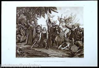 Antique 19th Century American Indian Print Christopher Columbus