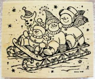 Northwoods rubber stamp Christmas Snowman Dog Sled Cute