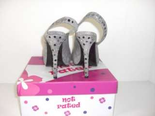 Not Rated Sedated Grey Fabric Open Toe Pumps 6.5 Shoes