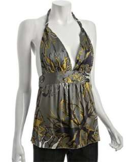 Rock & Republic amoeba floral stretch silk halter top   up to
