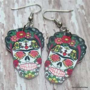 Kahlo sugar skull day of dead Rockabilly tattoo earrings