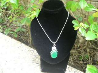 Oval Green Jade Gemstone Plated Silver Pendant S4251