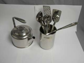 Clad Stainless Steel Kitchen Tool Set 7 Pc + Holder + Kettle