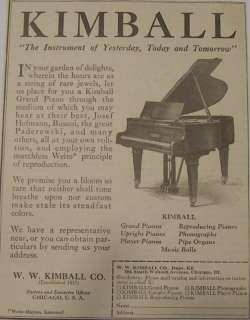 1923 Kimball Grand Upright Player Pianos Print Ad